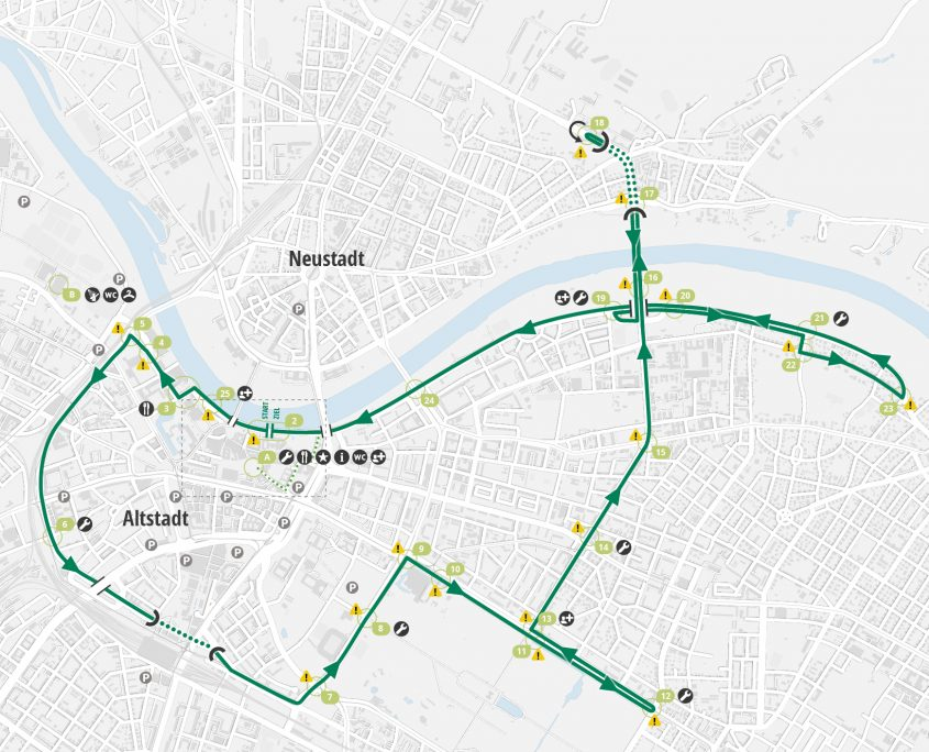 Der 21 Kilometer lange Rundkurs mitten in Dresden