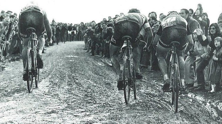 Francesco Moser, Marc de Meyer and Jan Raas bei Paris Roubaix