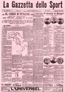Die Ausgabe der Gazetta dello Sport aus dem Jahr 1908, als die Erstaustragung des Giro bekanntgegeben wurde. Ganz nach dem Vorbild der Tour findet auch der Giro jährlich statt.